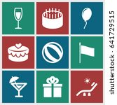 holiday icons set. set of 9... | Shutterstock .eps vector #641729515