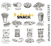 vintage vector hand drawn snack ... | Shutterstock .eps vector #641731195