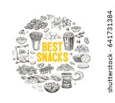 vector hand drawn snack and... | Shutterstock .eps vector #641731384