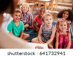 teacher at montessori school... | Shutterstock . vector #641732941