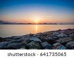 beautiful sunset over the sea   Shutterstock . vector #641735065