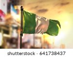 nigeria flag against city... | Shutterstock . vector #641738437