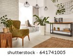 living room with wooden... | Shutterstock . vector #641741005
