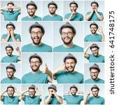 set of handsome emotional man... | Shutterstock . vector #641748175