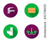 crane  sofa  toilet  chandelier.... | Shutterstock .eps vector #641748325