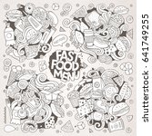 line art vector hand drawn... | Shutterstock .eps vector #641749255