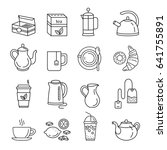 tea icons. outline web icon set.... | Shutterstock .eps vector #641755891