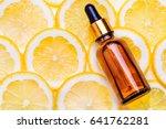 Small photo of Citrus essential oil, vitamin c serum, beauty care aroma therapy.