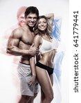 sexy couple  muscular man... | Shutterstock . vector #641779441