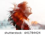 cheerful happy young adult girl ... | Shutterstock . vector #641784424