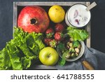 fresh fruit and milkshake in a... | Shutterstock . vector #641788555