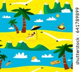 summer beach seamless pattern.... | Shutterstock .eps vector #641789899