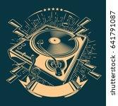 turntable music emblem   Shutterstock .eps vector #641791087