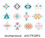 set of ethno tribal aztec... | Shutterstock .eps vector #641791891
