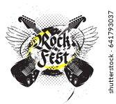 crossed guitars rock festival... | Shutterstock .eps vector #641793037