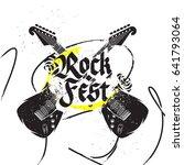 crossed guitars rock festival...   Shutterstock .eps vector #641793064