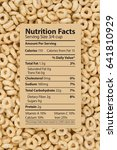 Small photo of Cereal is a healthy breakfast, Healthy oats cereal with text of a nutrition label on a card