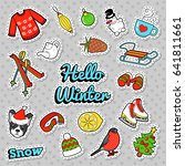 hello winter doodle with... | Shutterstock .eps vector #641811661