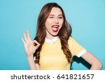 portrait of a cute excited girl ... | Shutterstock . vector #641821657