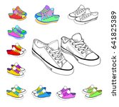 sketch sneakers and brightly... | Shutterstock .eps vector #641825389