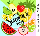 summer banner with fruit  place ... | Shutterstock .eps vector #641834134