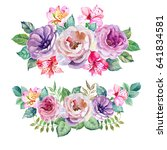 cute bouquets of roses and...   Shutterstock . vector #641834581