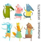 funny baby dancing animals... | Shutterstock .eps vector #641836771