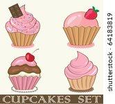 retro cupcakes set. jpeg format. | Shutterstock . vector #64183819