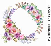 colorful wreath of watercolor... | Shutterstock . vector #641839969