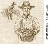 farmer holding basket with... | Shutterstock .eps vector #641842621