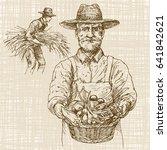 farmer holding basket with... | Shutterstock .eps vector #641842621