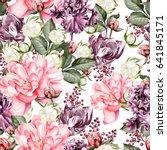 beautiful watercolor pattern... | Shutterstock . vector #641845171