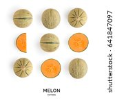 Small photo of Seamless pattern with melon. Tropical abstract background. Melon the white background.