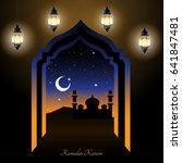 ramadan kareem greeting.... | Shutterstock .eps vector #641847481