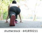breathless sportswoman athletic ... | Shutterstock . vector #641850211