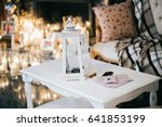 white lantern stands on white... | Shutterstock . vector #641853199