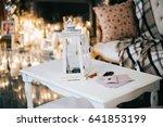 white lantern stands on white... | Shutterstock . vector #641853199
