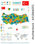 turkey map and flag   highly... | Shutterstock .eps vector #641866051