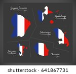 french overseas departments map ... | Shutterstock .eps vector #641867731