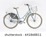 city bike with basket and... | Shutterstock . vector #641868811