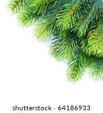christmas tree branches border... | Shutterstock . vector #64186933