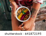 fruit plate with granola.... | Shutterstock . vector #641872195
