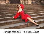 beauty girl in red dress. chic... | Shutterstock . vector #641882335