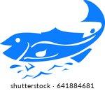 sea fish. calligraphy. vector... | Shutterstock .eps vector #641884681