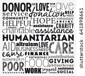 humanitarian word cloud collage ... | Shutterstock .eps vector #641898661