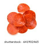 slices of pepperoni on white... | Shutterstock . vector #641902465