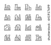 set line icons of factory... | Shutterstock . vector #641917699