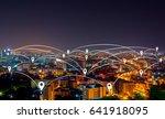 map pin flat above night... | Shutterstock . vector #641918095