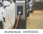 power supply for electric car... | Shutterstock . vector #641923321