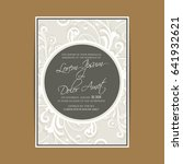wedding invitation with vintage ... | Shutterstock .eps vector #641932621